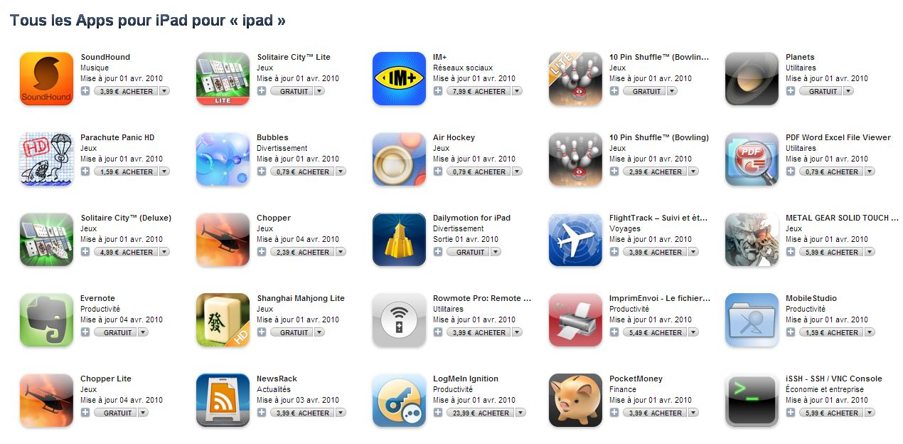 applications iPad